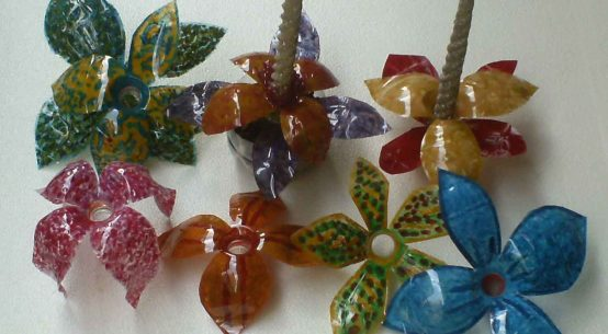 Make lovely decorations out of throw away plastic bottles