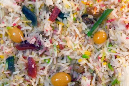 Pakistani Sweet Rice With Rainbow Colors