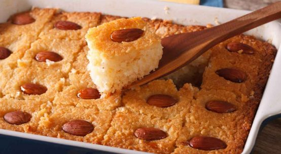 Arab Harissa Cake With Almonds Recipe (Arab Dessert Semolina with Almonds and Syrup)