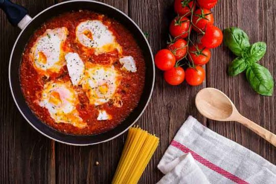 Homemade Spicy Eggs with Tomato Sauce Recipe - Shakshuka Recipe